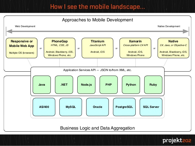 Approaches to mobile application development spectrum