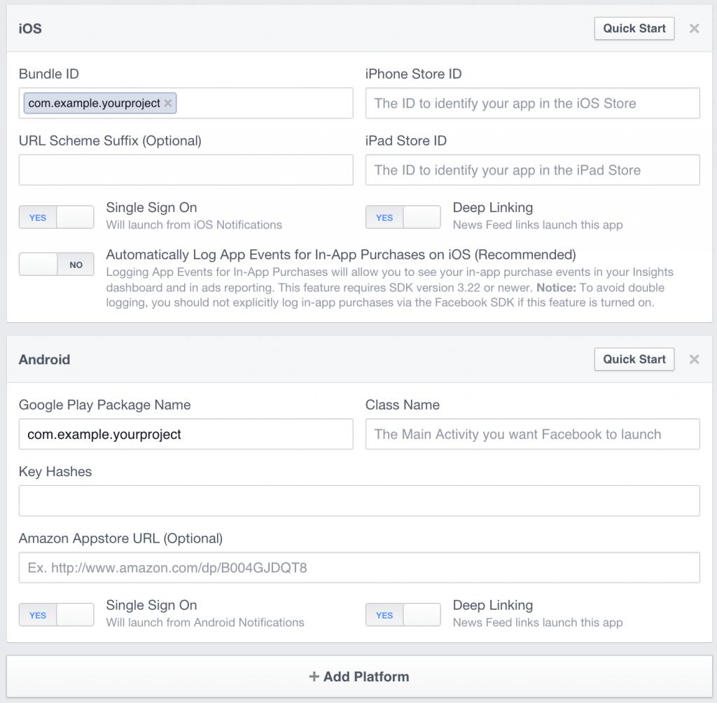 Facebook Platform Settings