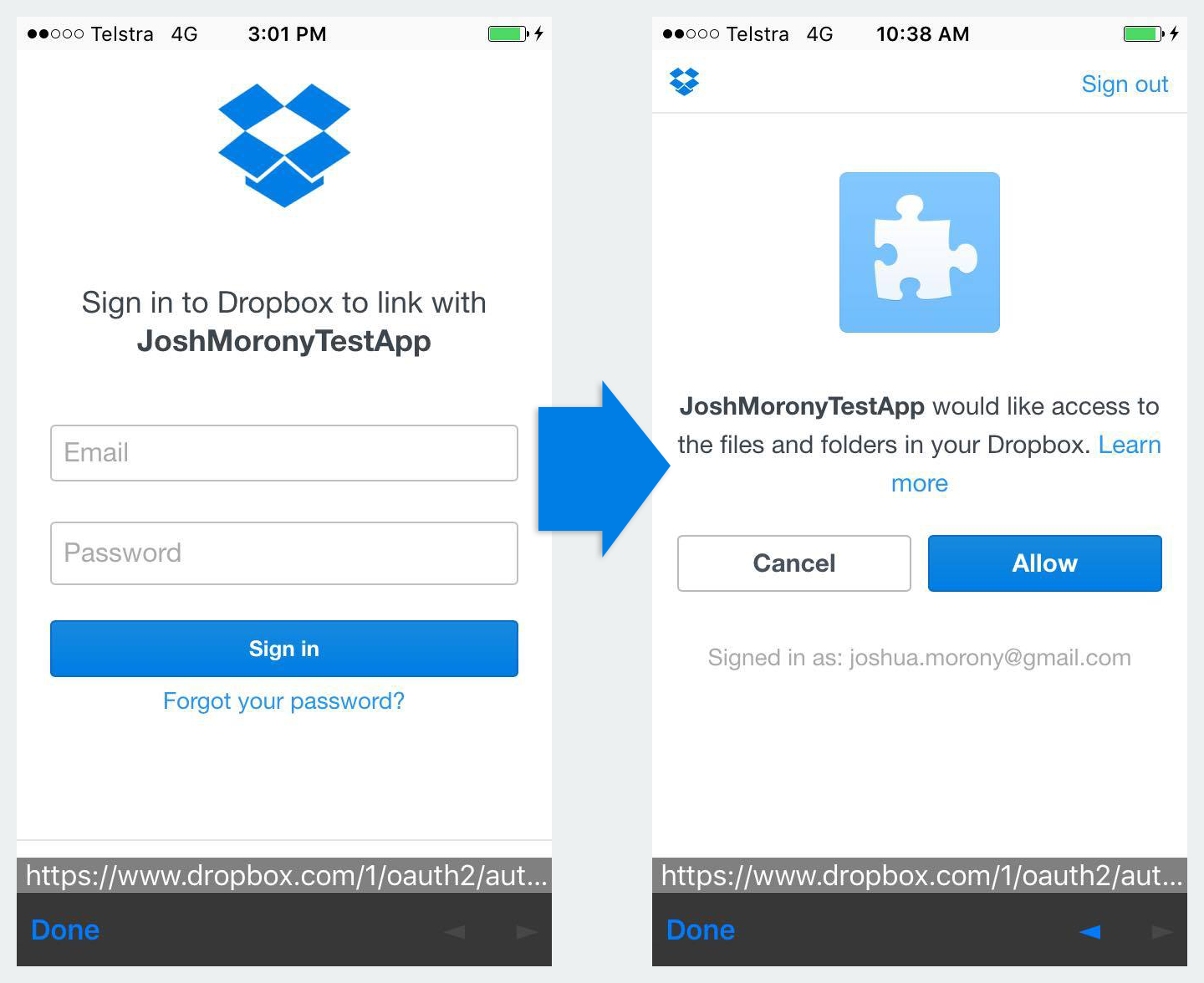 Dropbox OAuth Flow