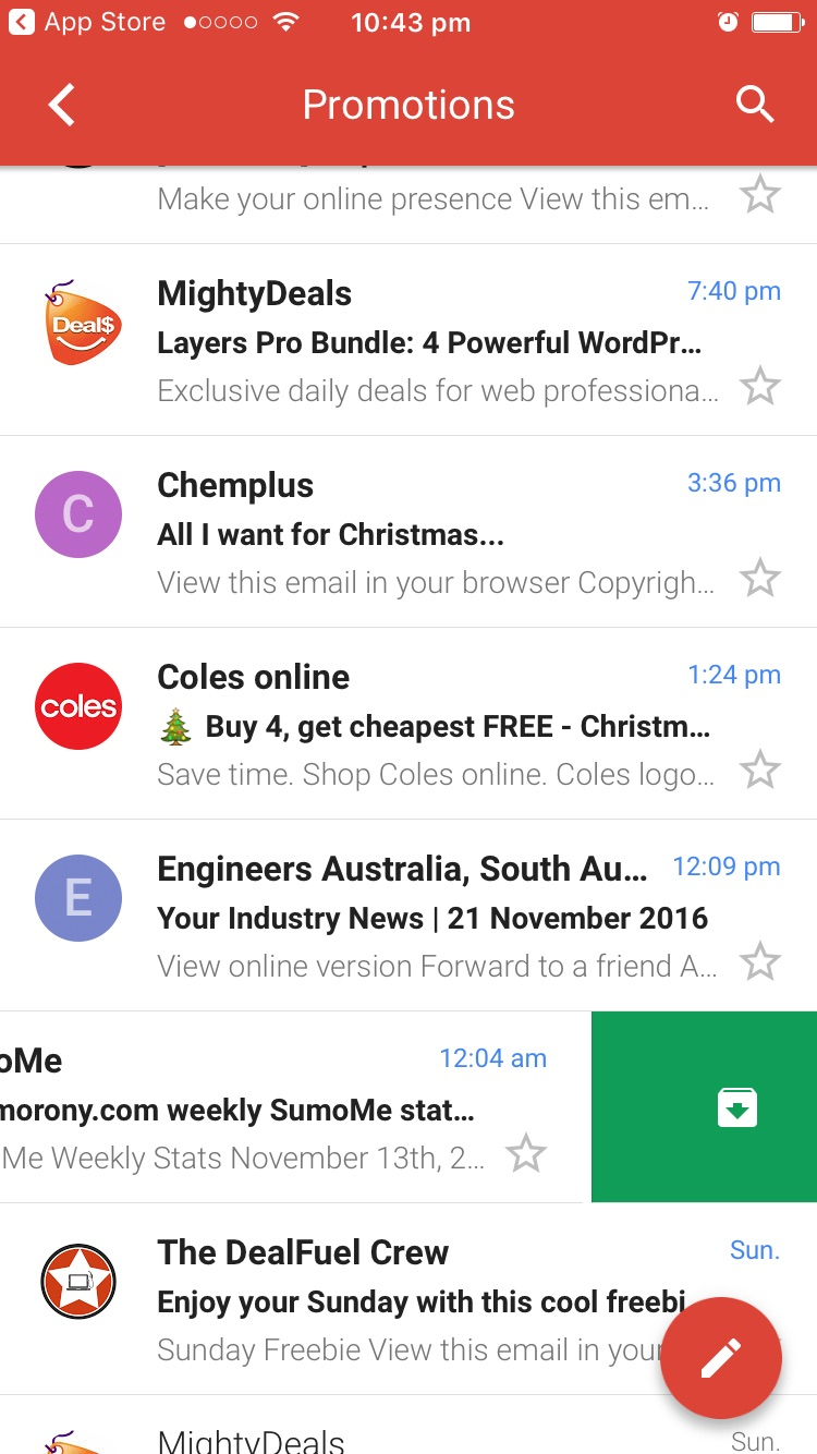 Gmail App Swiping