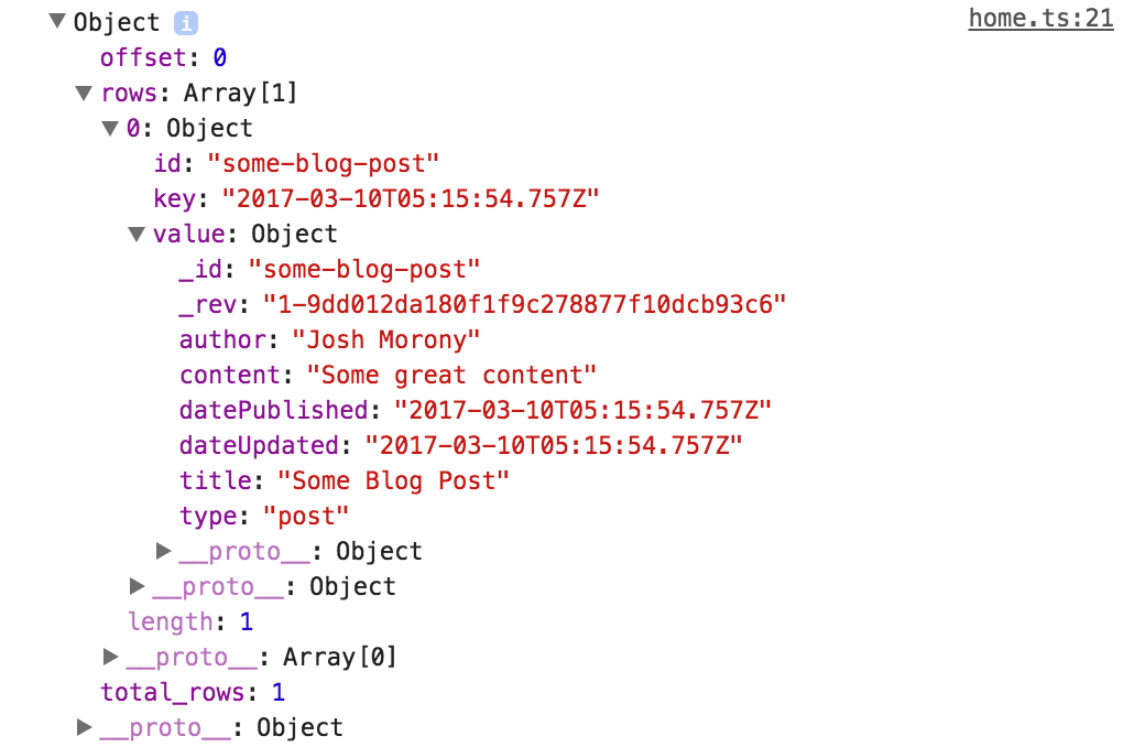 PouchDB Object