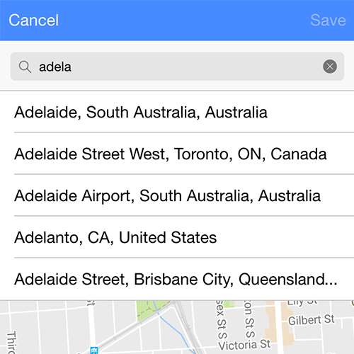 Location Select Page with Google Maps and Ionic