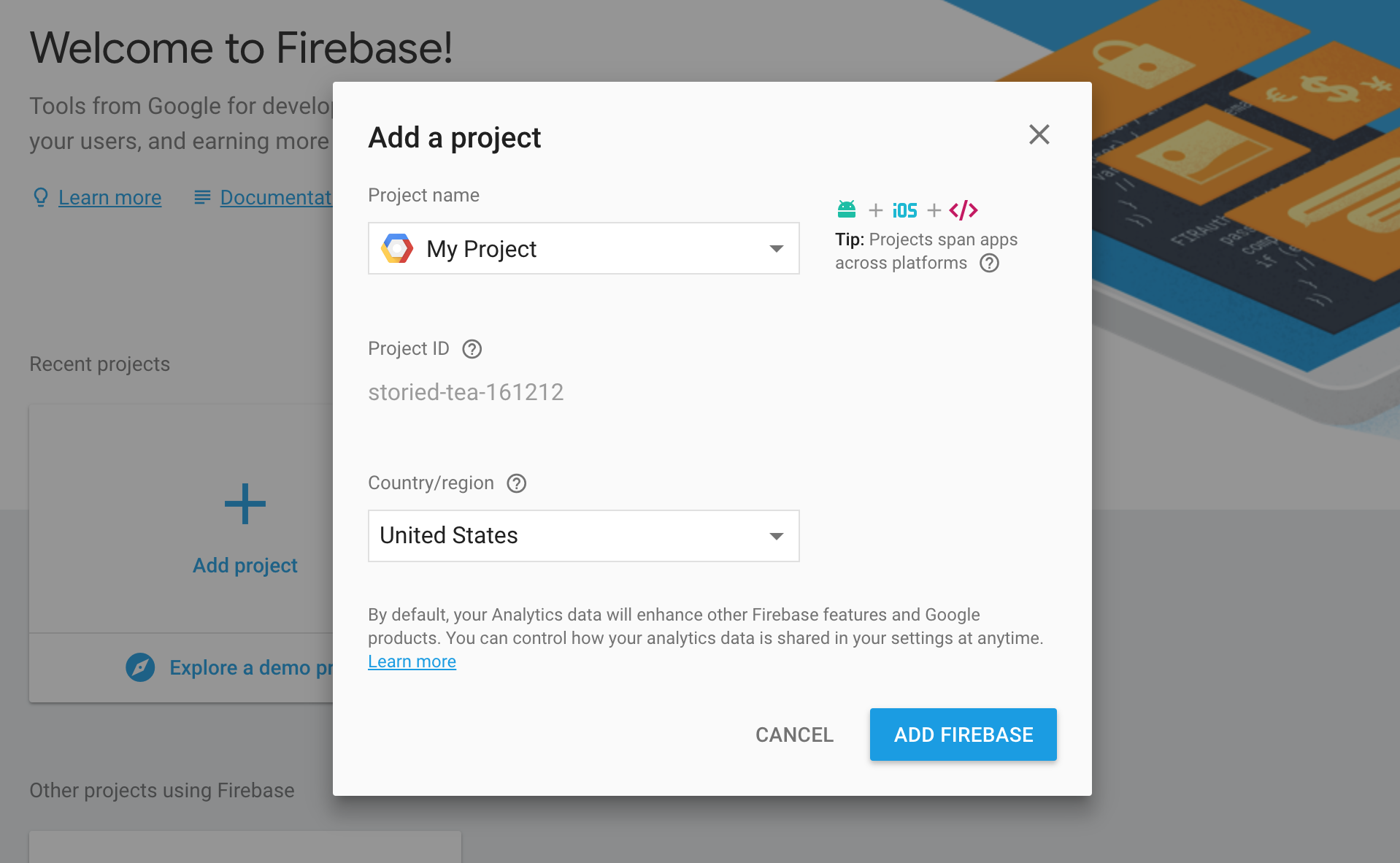 Firebase Project Creation