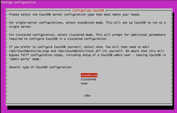 CouchDB standalone installation configuration