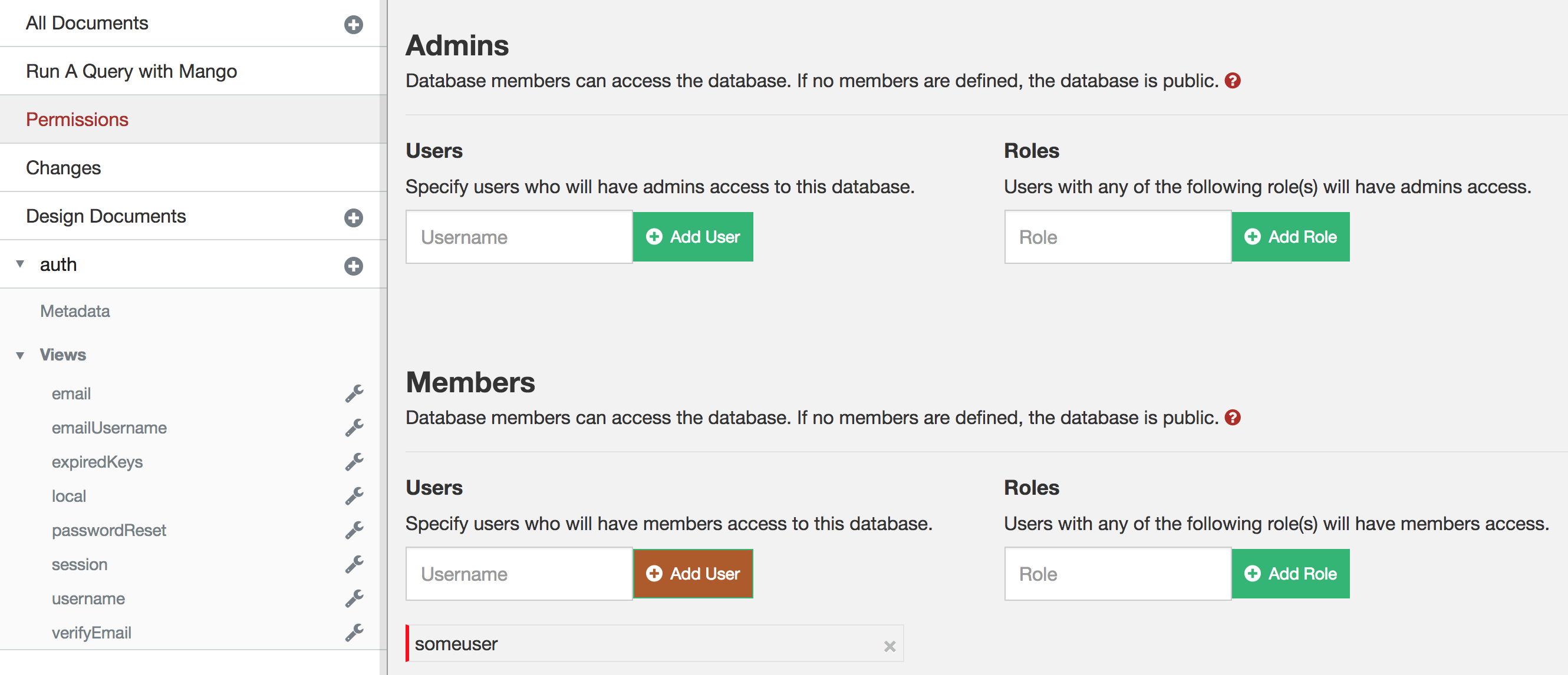 CouchDB Database Permissions with Member Added