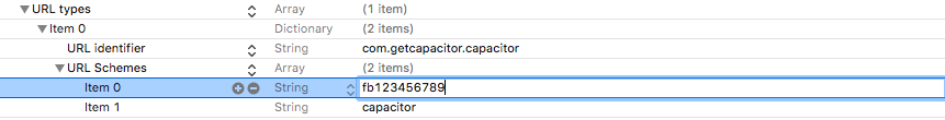 Adding Facebook URL Scheme to Info.plist file in Capacitor