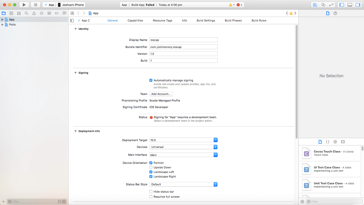 XCode Signing Interface