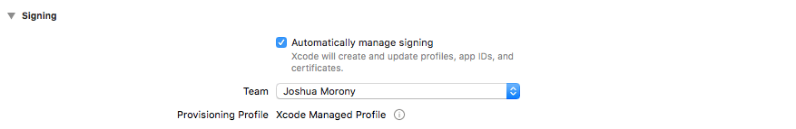 XCode Signing Select Team