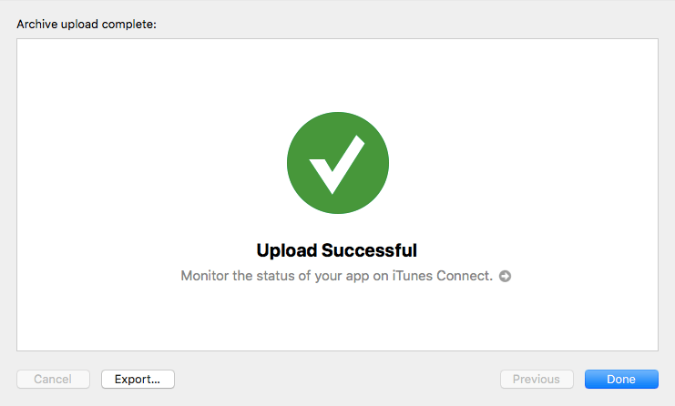 XCode Upload Successful screen
