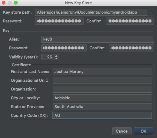 Android Studio Create Keystore