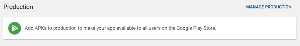 Google Play Production Upload Section