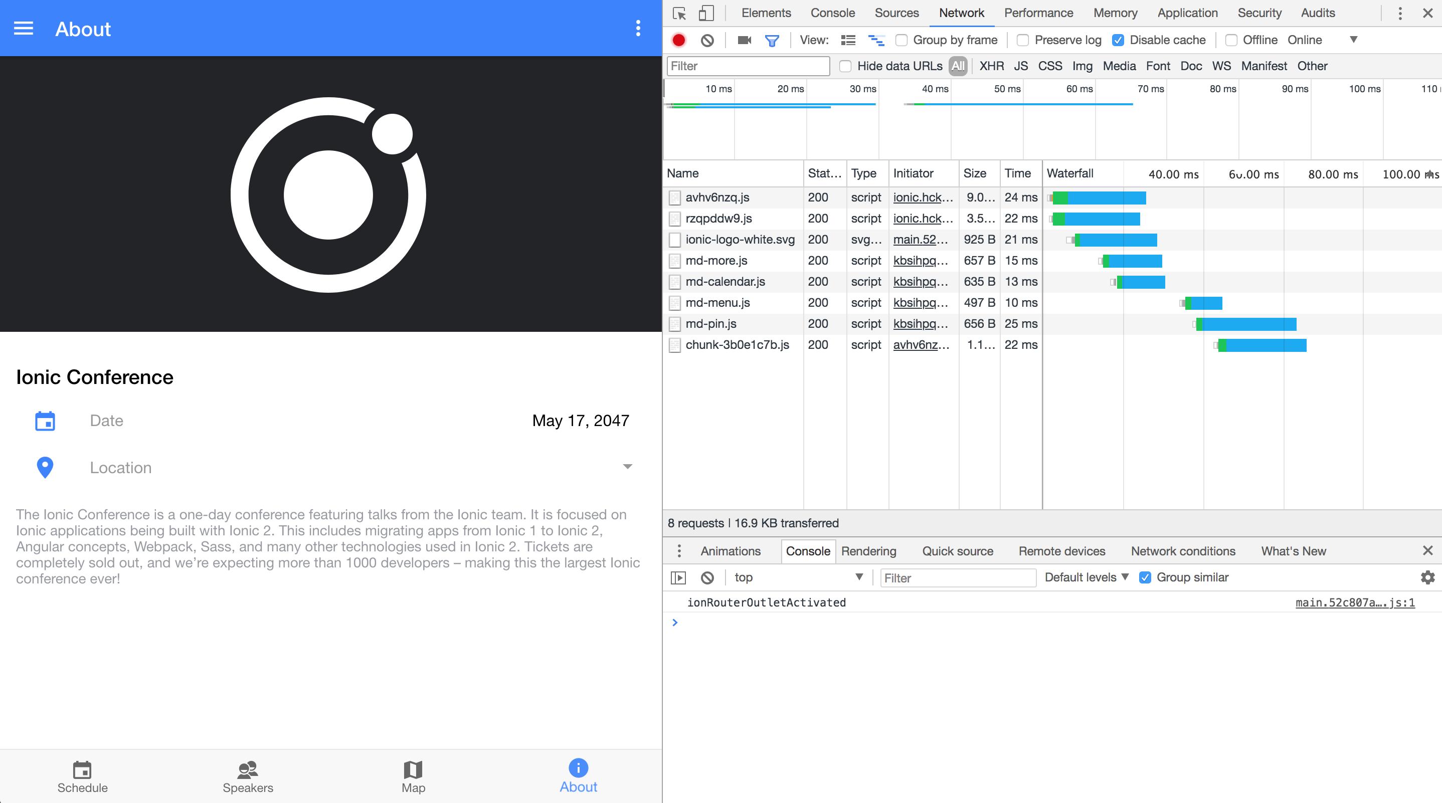 Ionic 4 Screenshot of Network Tab