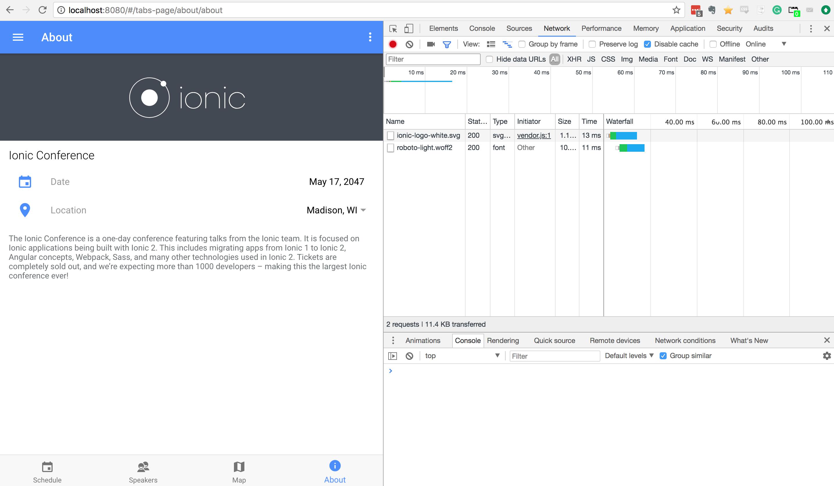 Ionic 3 Screenshot of Network Tab