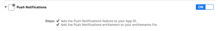 XCode Enable Push Notifications