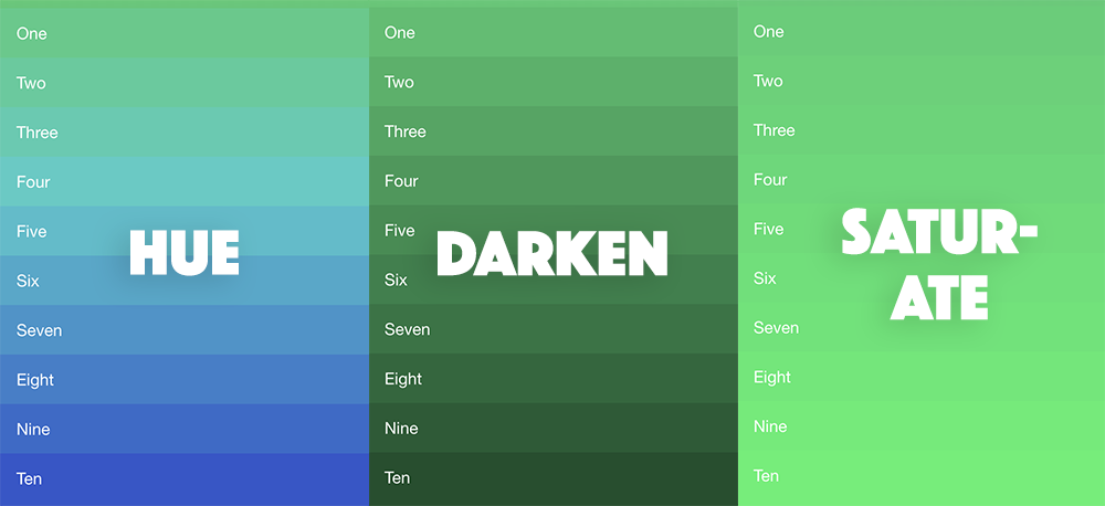 Examples of using darken, adjust-hue, and saturate in SASS